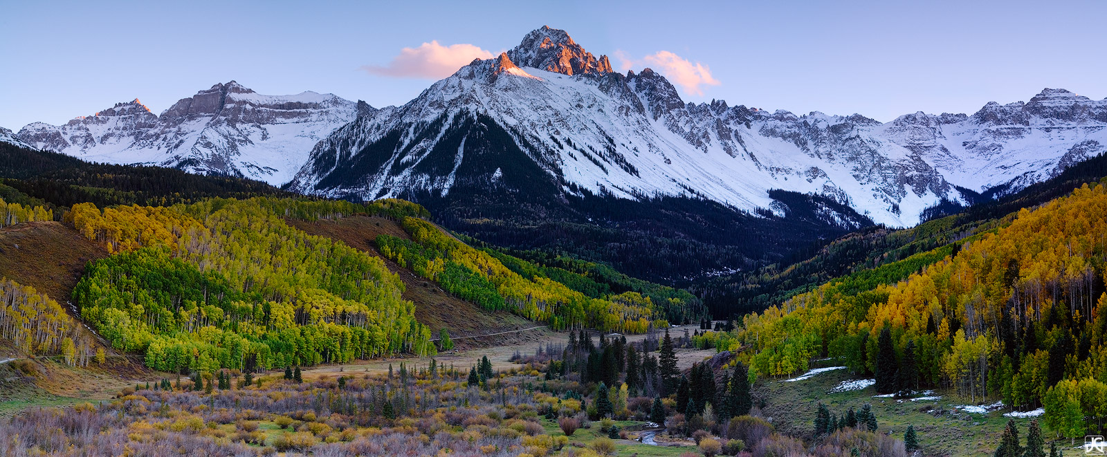 Colorado, aspen, forest, autumn, Sneffels, Ridgway, San Juan Mountains, panoramic, photo
