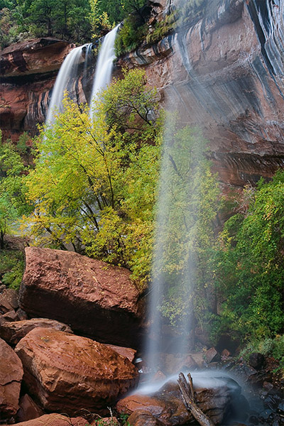waterfall, Zion, canyon, autumn, fall, stream, pool, photo