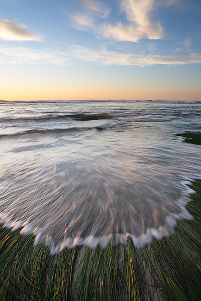 sea, grass, ocean, tide, sunset, California, photo