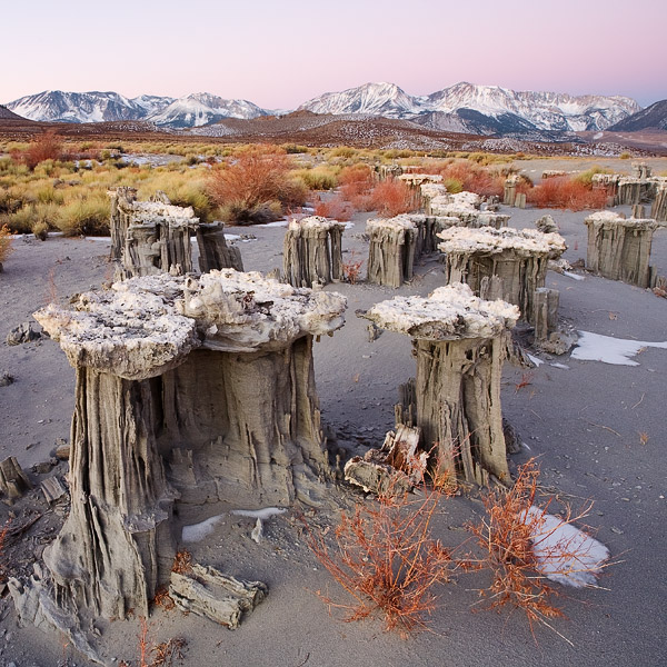 Rare sand tufas stick out like sore thumbs beneath the Sierra Nevada Mountains on a cold, crisp winter morning.