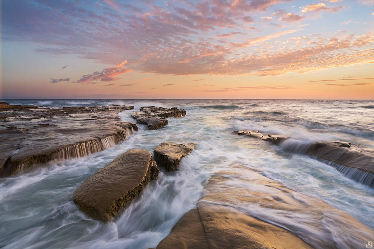 California, La Jolla, San Diego, coast, sunset, tide, sea, photo