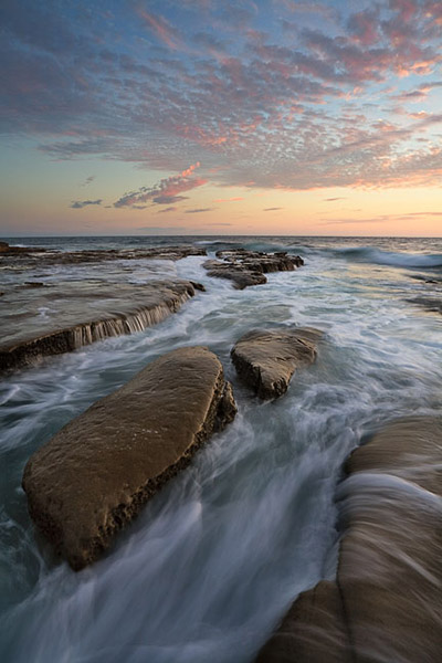 La Jolla, California, beach, coast, sunset, tide, reef, rock, clouds, photo