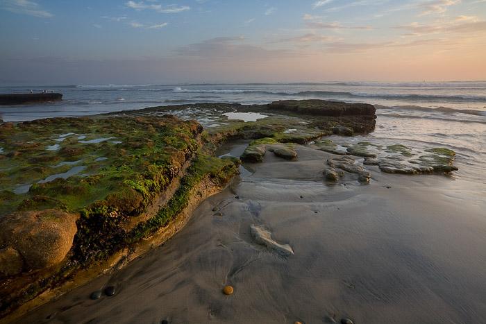 Swami's, California, beach, coast, cloud, sunset, tide, reef, photo