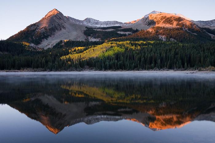 Colorado, aspen, Beckwiths, autumn, Elk Mountains, sunrise, Lost Lake, lake, photo