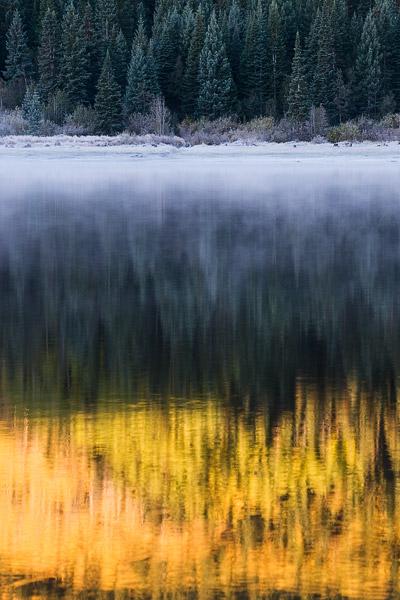 Lost Lake, Colorado, Kebler Pass, reflection, fog, aspen, Elk Mountains, photo