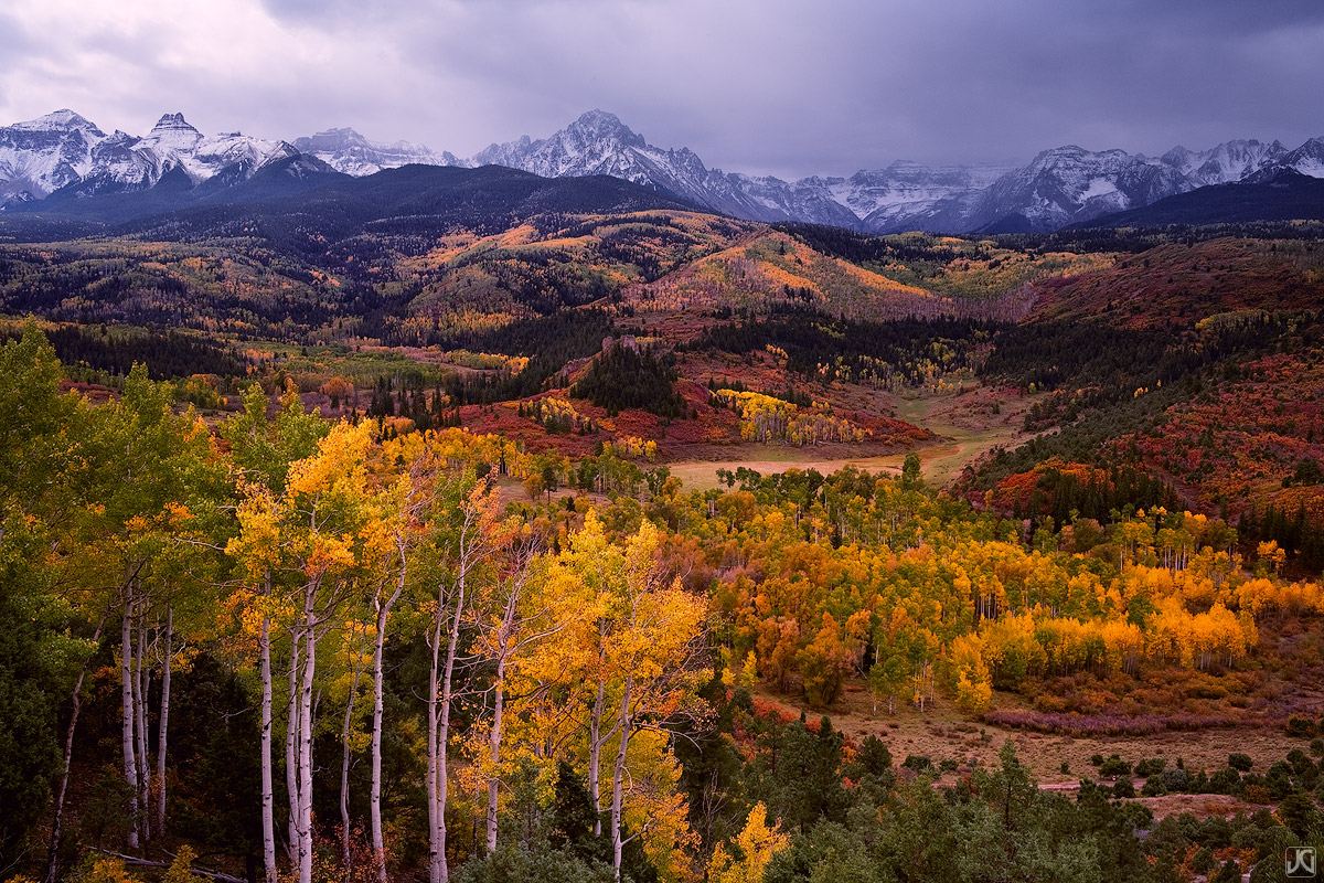 Colorado, autumn, aspen, valley, storm, Sneffels, San Juan Mountains, photo