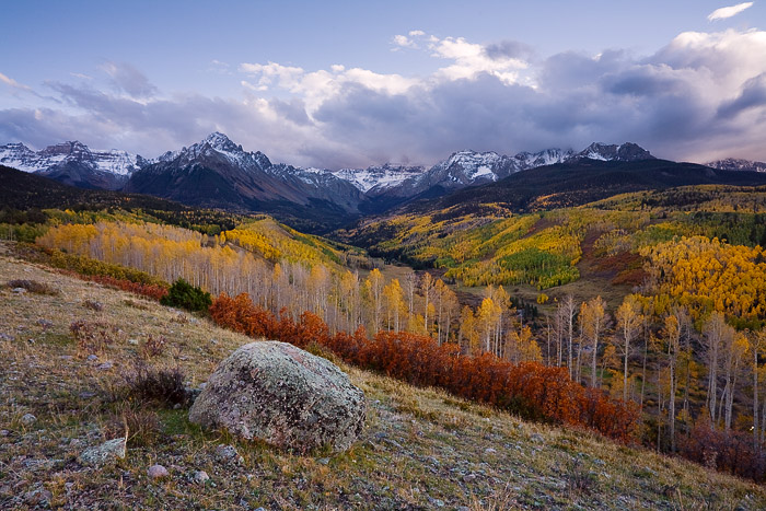 autumn, Sneffels Range, San Juan Mountains, aspen, Colorado, sunset, photo