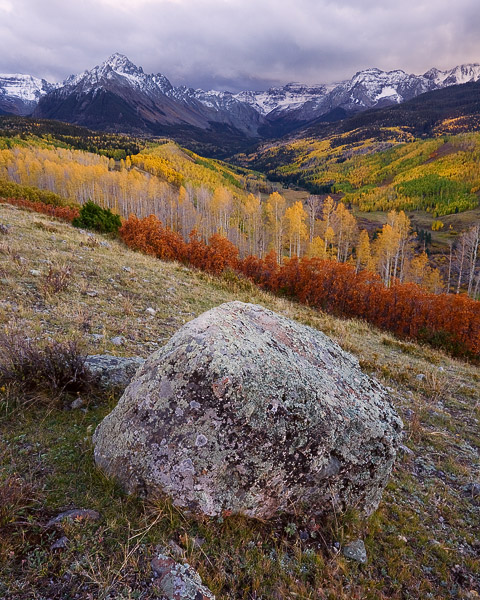 San Juan Mountains, Colorado, Sneffels Range, sunset, storm, autumn, aspen, photo