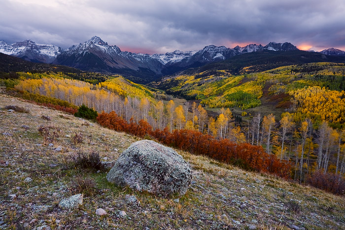 Colorado, aspen, Sneffels, San Juan Mountains, autumn, storm, leaves, sunset, photo