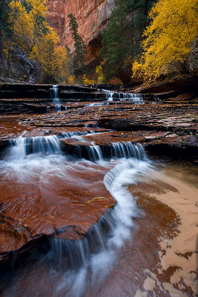Zion, Utah, waterfall, Archangel Cascades, Subway, autumn, creek, stream, photo