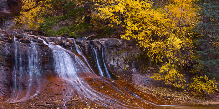 Pano view of waterfalls of the Left Fork in Zion's backcountry.