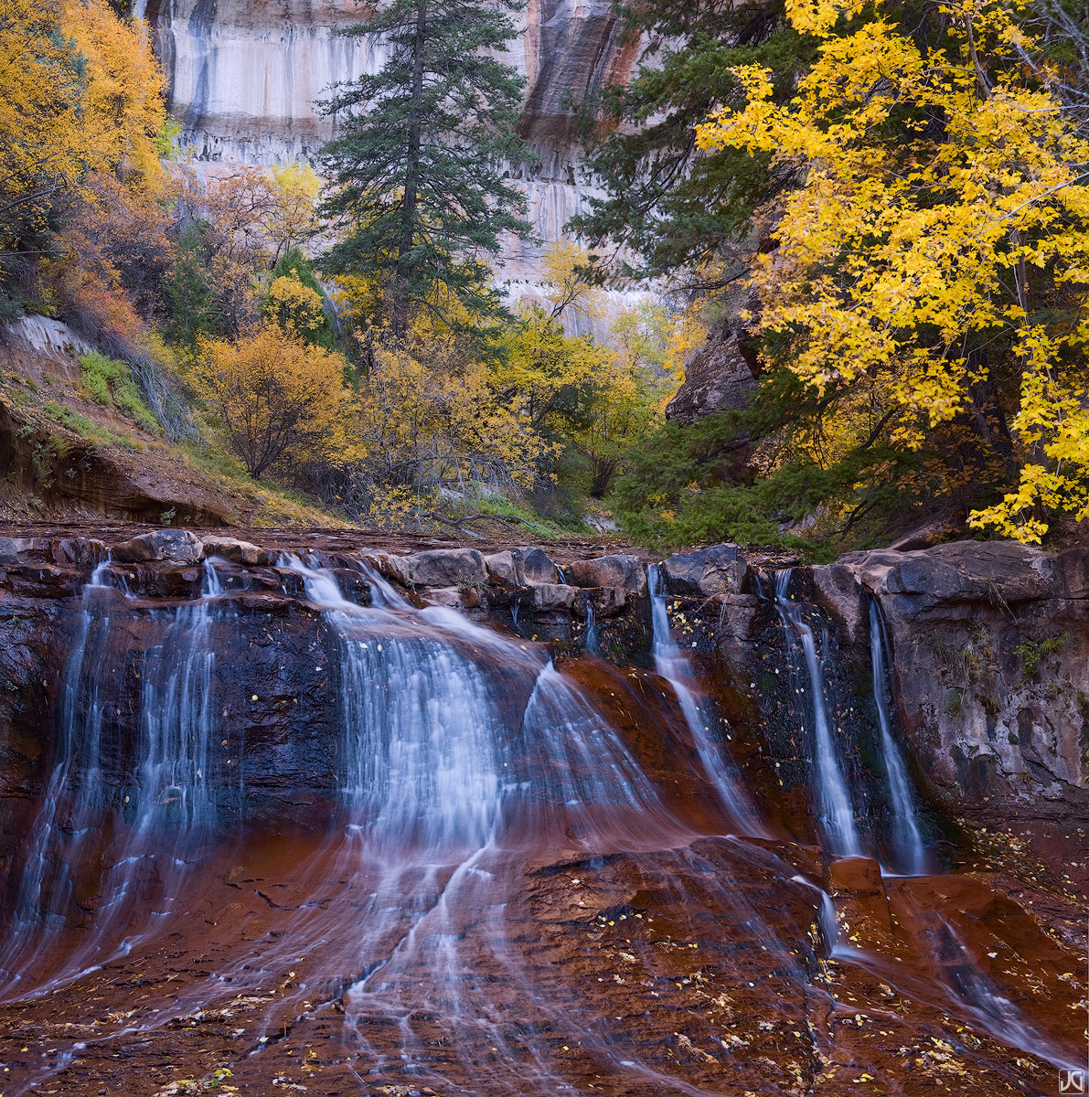 Peaking autumn colors line the Left Fork and surround this wondeful waterfall in Zion's backcountry.