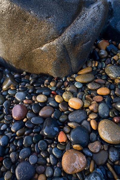 A rainy day along the coast of San Diego brings out some extra color in these rocks along the shore.