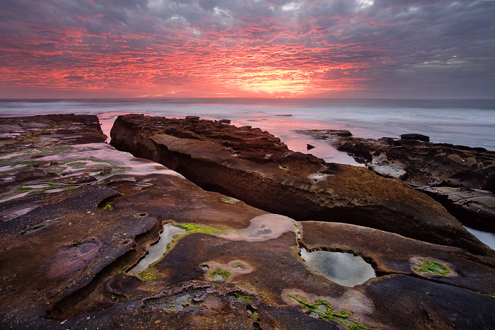 La Jolla, sunset, color, clouds, water, ocean, sea, rock, moss, photo