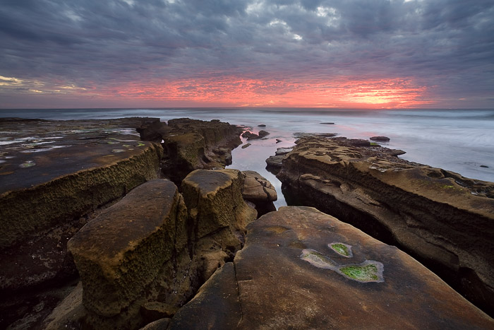 La Jolla, color, sunset, clouds, rock, water, sea, ocean, photo