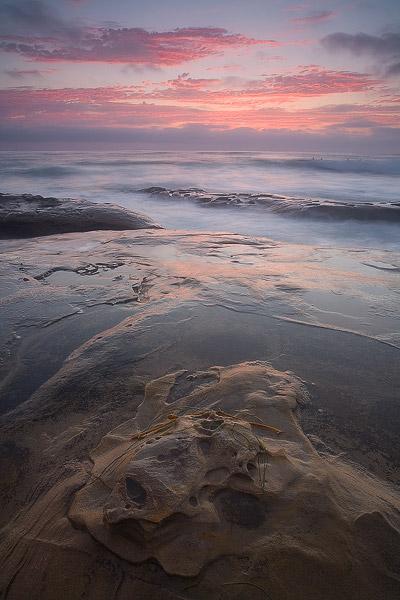 sunset, La Jolla, beach, wave, ocean, cloud, photo