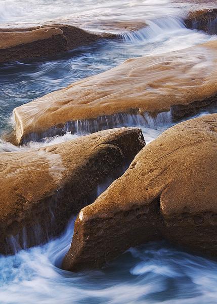 California, La Jolla, tide, shore, rocks, sea, sunset, photo