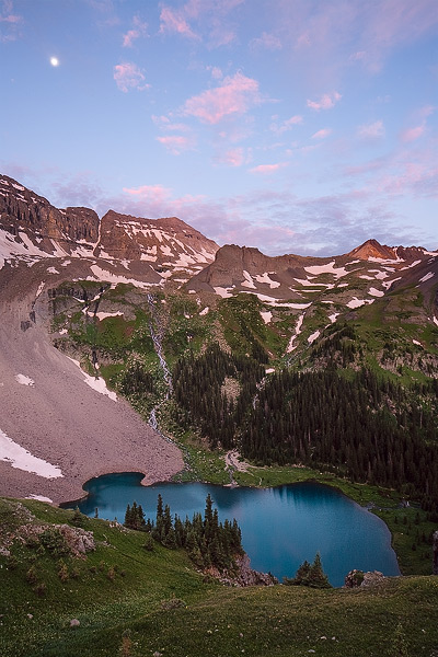 Colorado, Lower Blue Lake, moonset, San Juan Mountains, Dallas Peak, photo