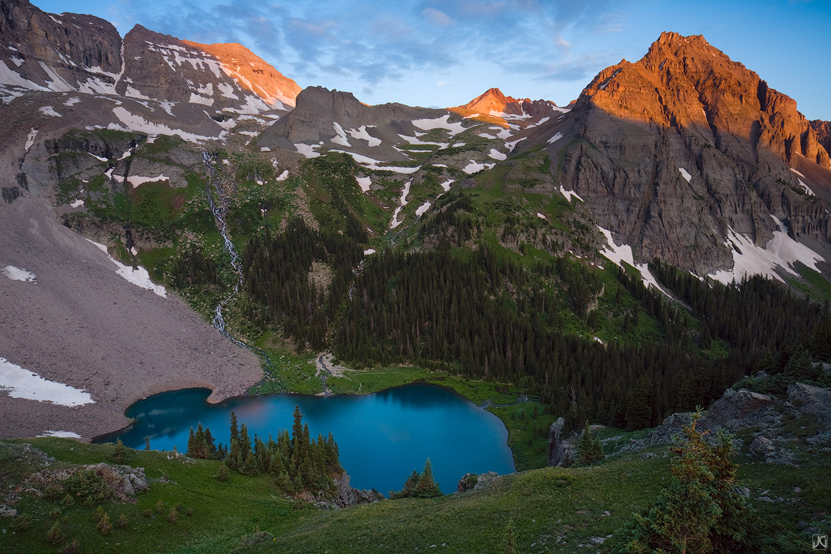 Colorado, Blue Lake, sunrise, mountains, San Juan Mountains, backpacking, summer, photo