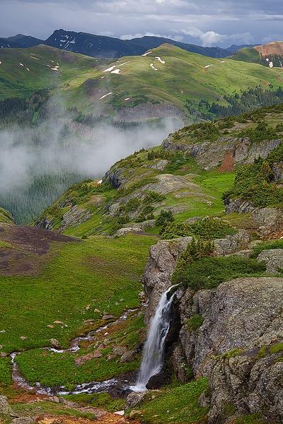 Colorado, San Juan Mountains, porphyry, falls, waterfall, gulch, summer, thunderstorm, photo