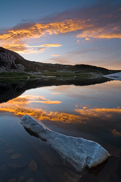 sunrise, cloud, rock, water, reflection, tarn, lake, mountain, Snowy Range, Wyoming, photo