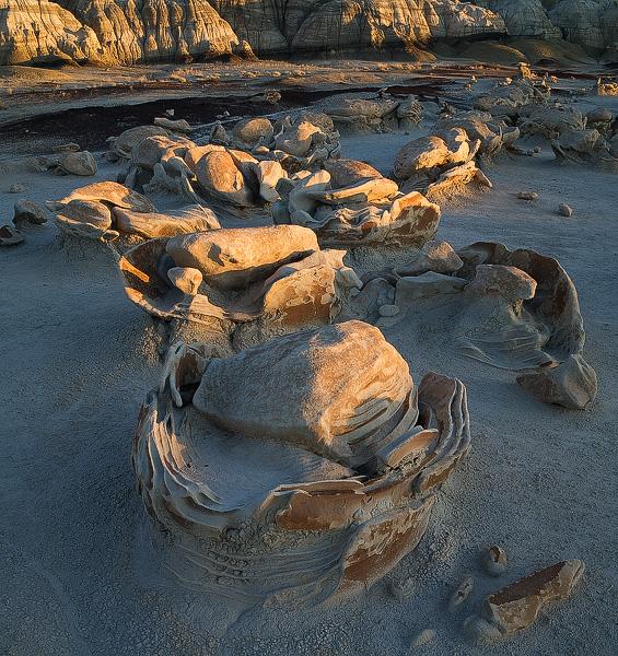 Egg Factory, cracked egg, Bisti, badland, New Mexico, sunset, rock, photo