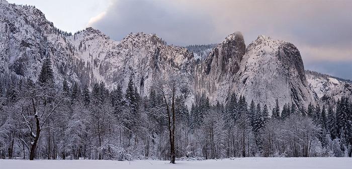 Yosemite, valley, snow, winter, mountain, tree, cloud, pano, California, photo