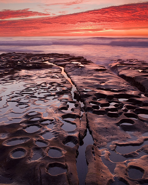 sunset, sky, cloud, beach, ocean, sea, shore, rock, La Jolla, photo