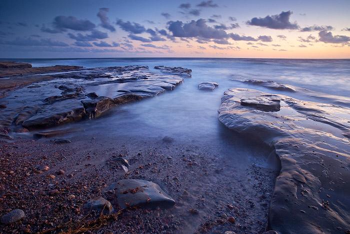 ocean, sunset, rock, sea, flow, La Jolla, California, coast, shore, wave, beach, clouds, photo