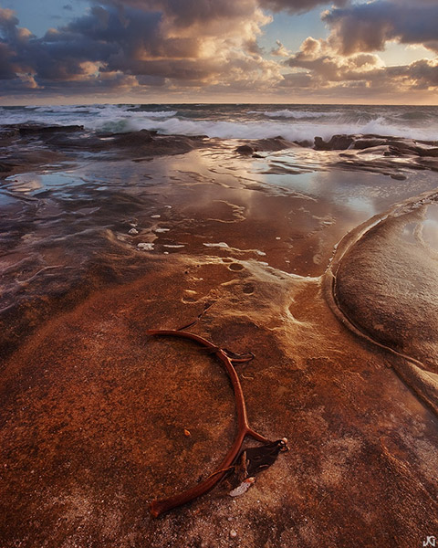 ocean, sunset, rock, sea, flow, La Jolla, California, coast, shore, wave, beach, clouds, photo