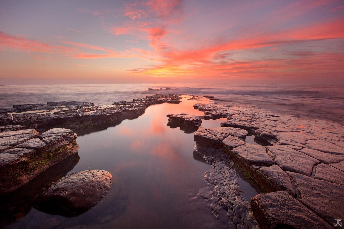 California, San Diego, sunset, reflection, coast, sky, pool, photo