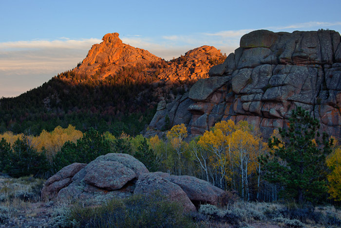 Wyoming, autumn, sunset, aspen, fall, rock, photo