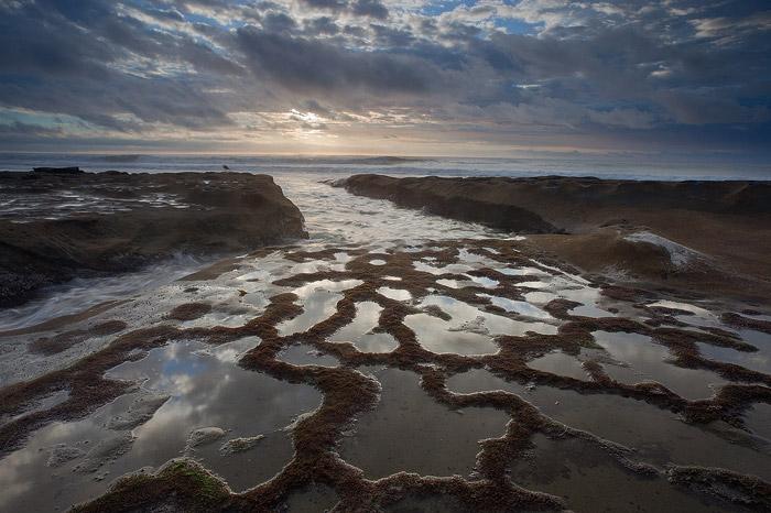 coast, beach, reflection, shore, sunset, clouds, ocean, La Jolla