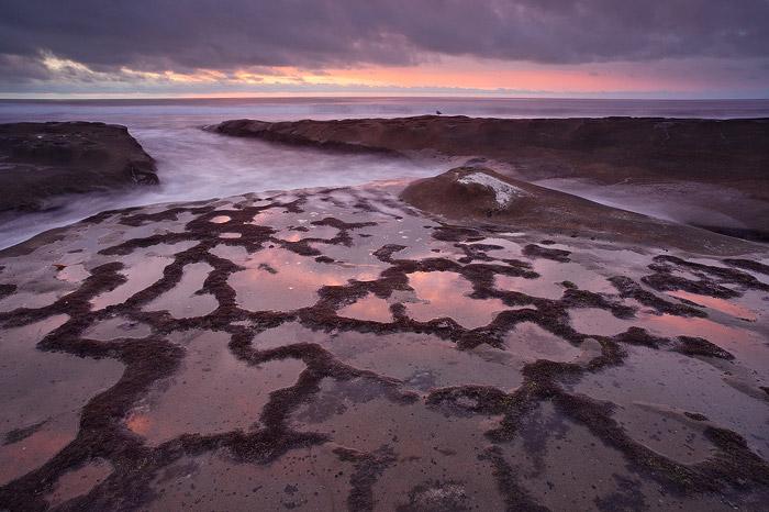 coast, beach, reflection, shore, sunset, clouds, ocean, La Jolla, photo