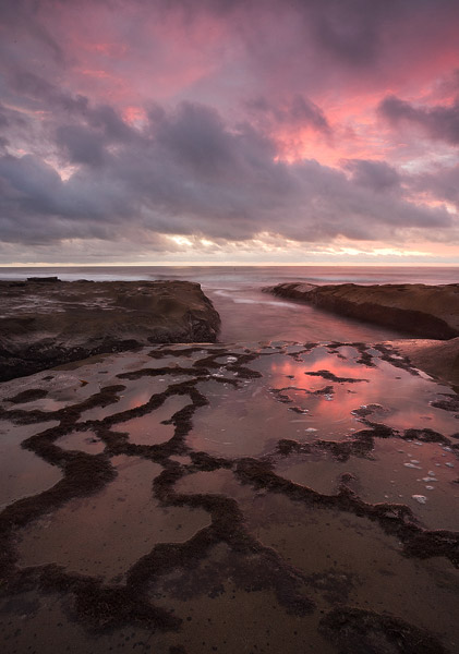 coast, beach, reflection, shore, sunset, clouds, ocean, La Jolla, photo