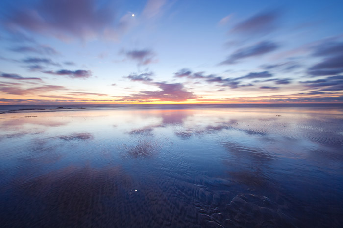 coast, sunset, beach, Carlsbad, California, ocean, clouds, reflection, photo