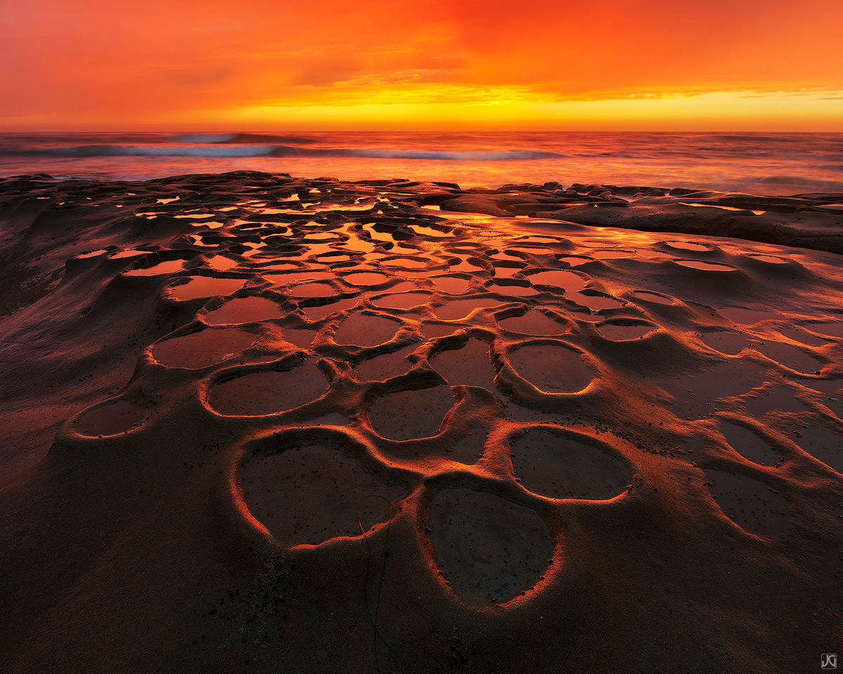 California, La Jolla, San Diego, sunset, coast, potholes, photo