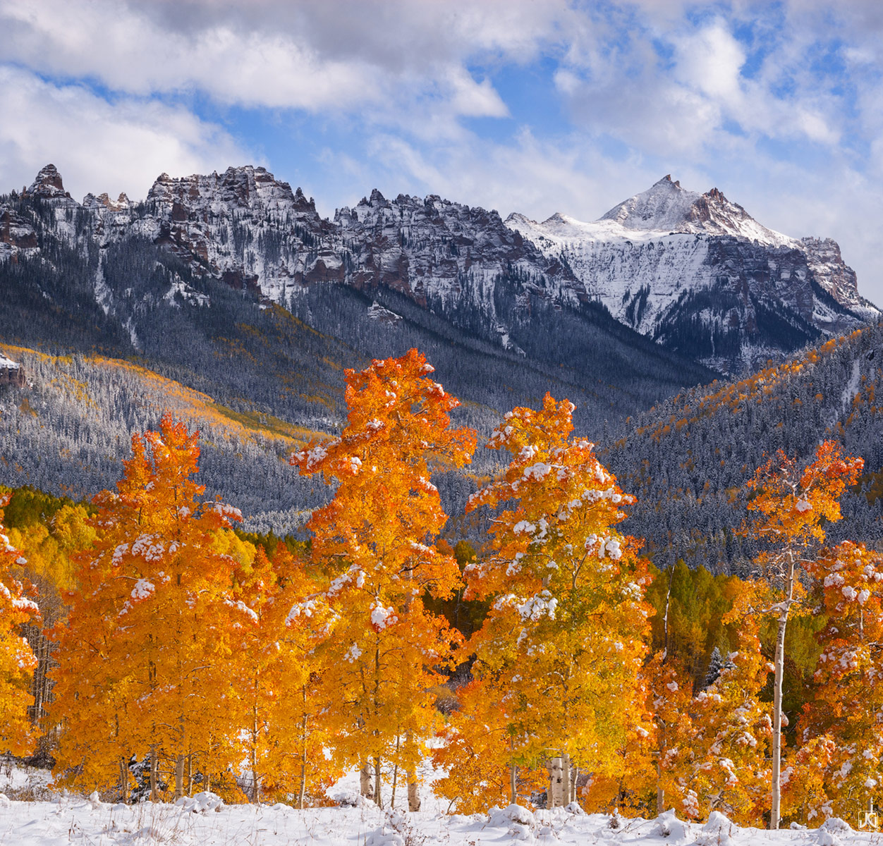 Colorado,San Juan Mountains, aspen,fall,snow, photo