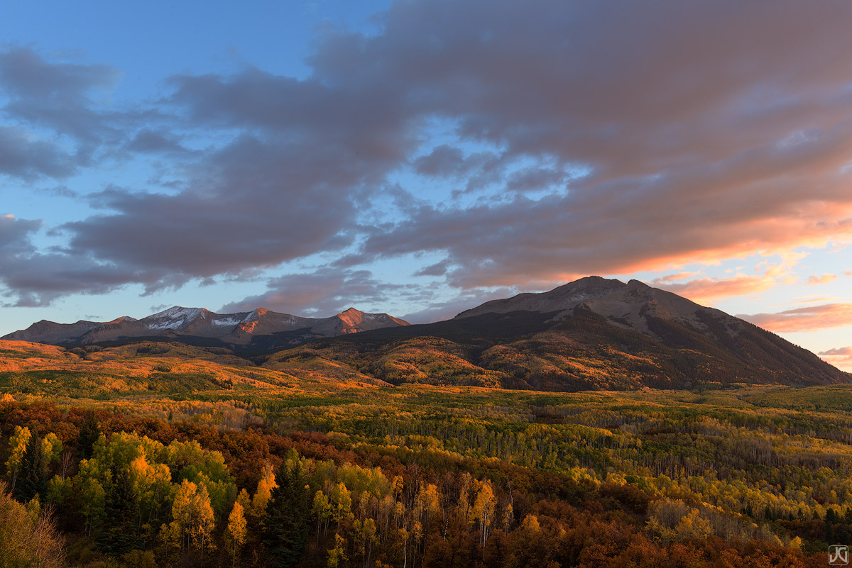 Colorado, aspen, West Beckwith, East Beckwith, autumn, sunset, forest, clouds, photo