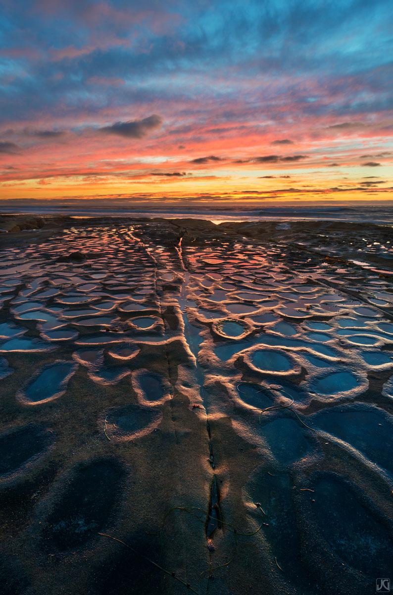 California, La Jolla, potholes, sunset, color, clouds, photo
