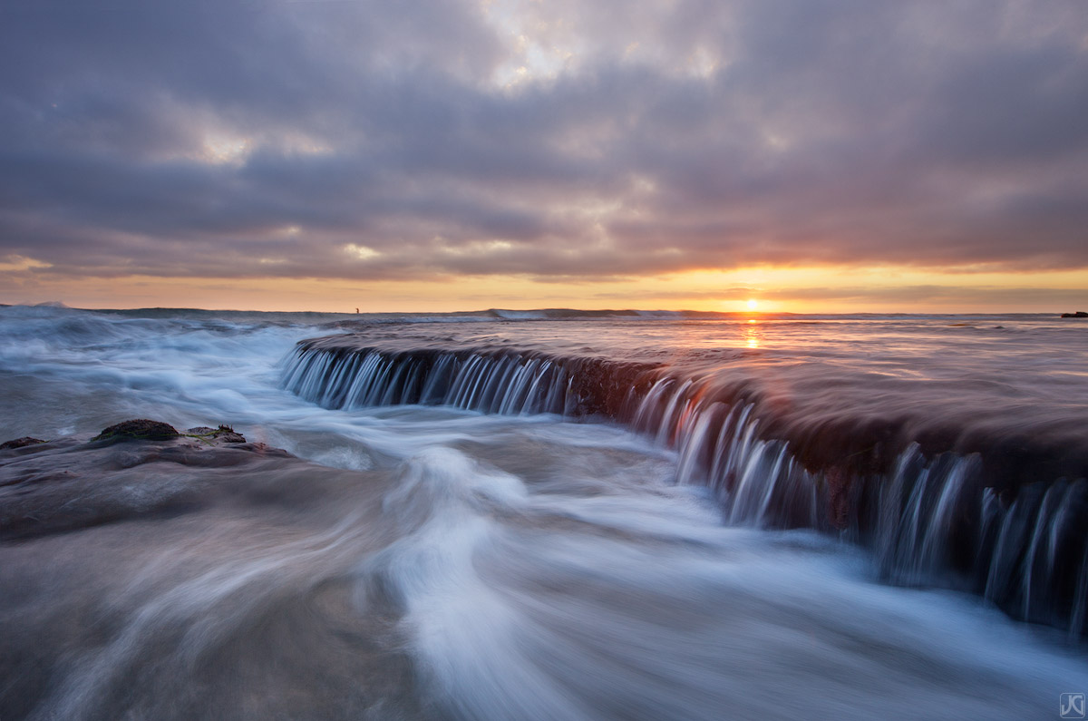 California, Encinitas, swamis, sunset, waterfall, tide, coast, surf, reflection, photo