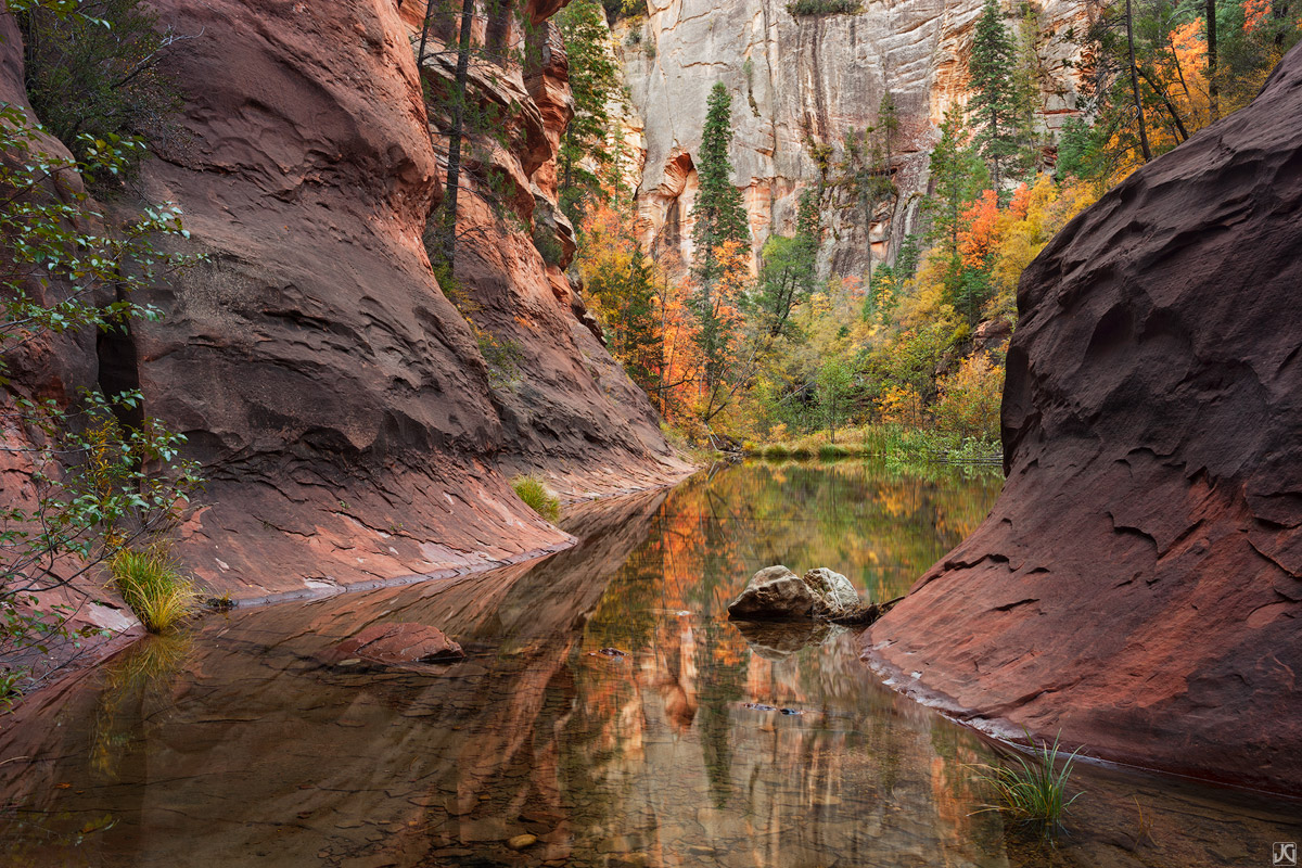 Arizona, Sedona, Oak Creek, West Fork, fall, pool, photo