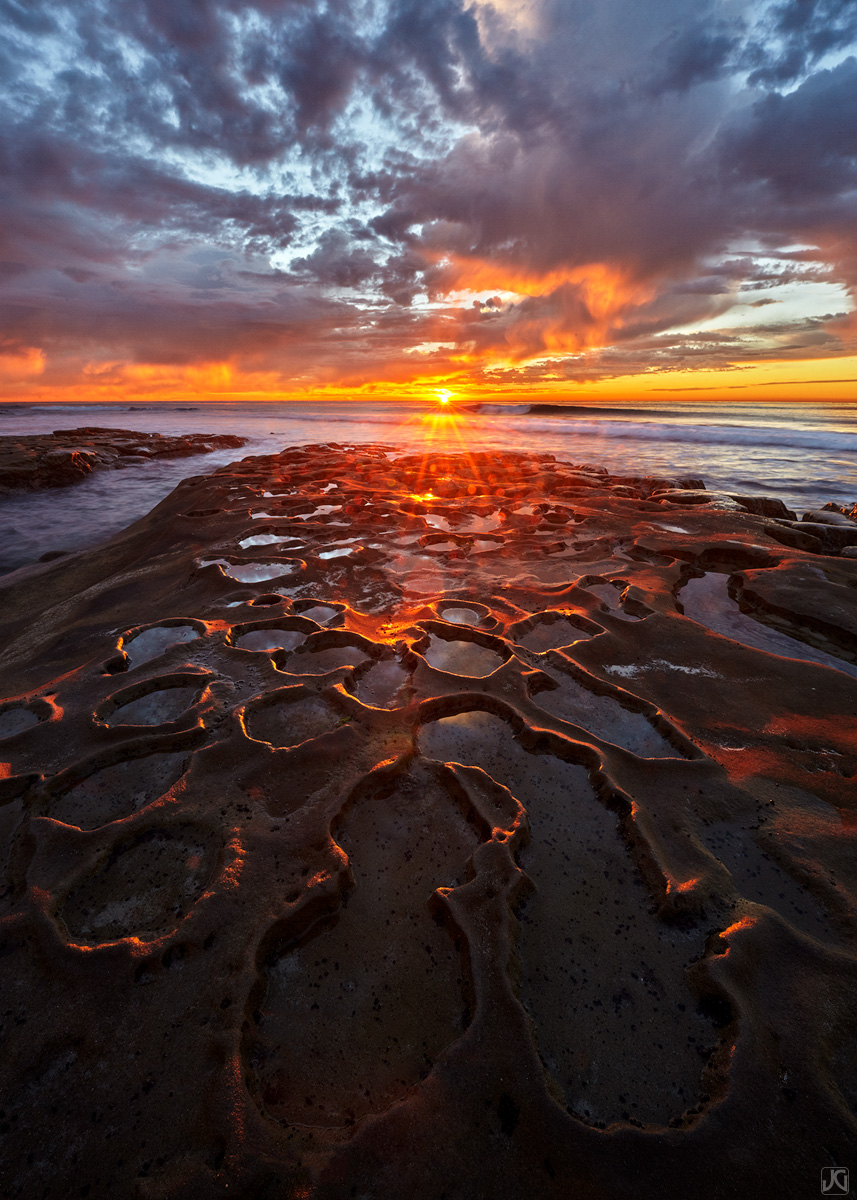 California, La Jolla, sunset, light, spray, ocean, tidepools, clouds, coast, photo
