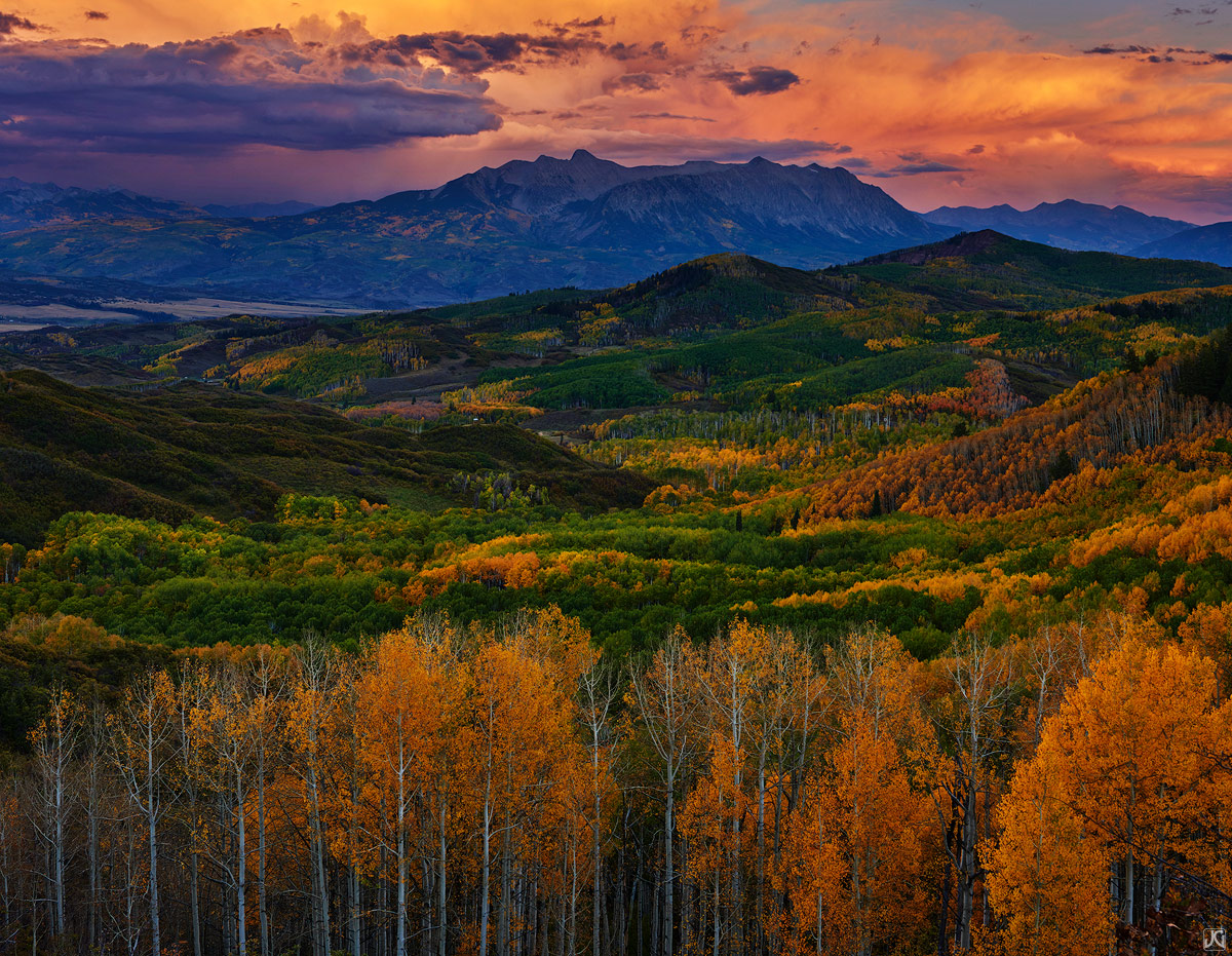 aspen, fall, autumn, Colorado, sunset, mountain, photo