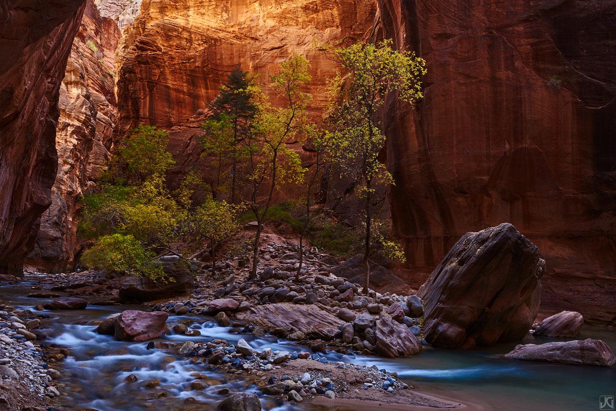Utah, Zion, fall, autumn, Narrows, slot canyon, Virgin, river, photo