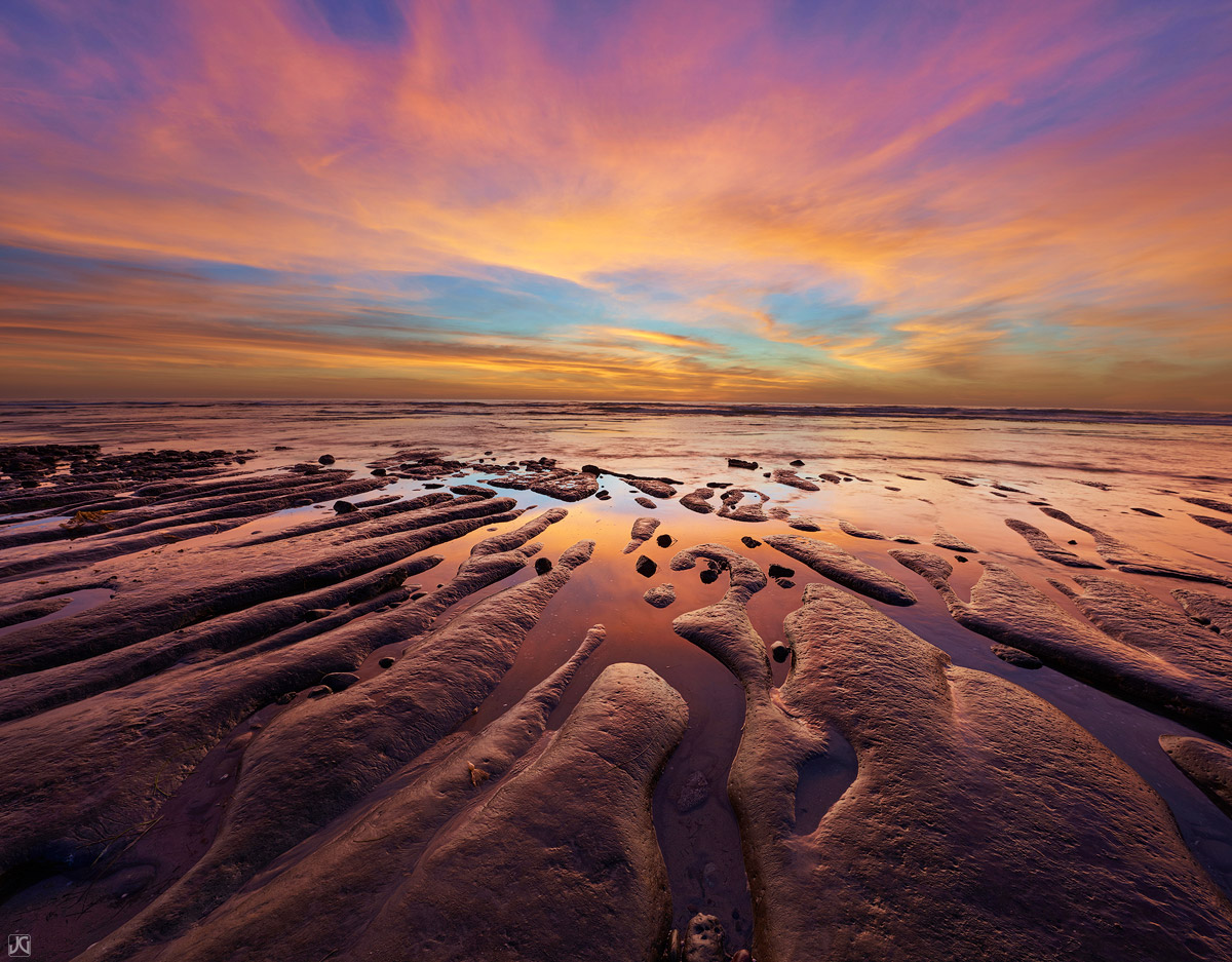 california, encinitas, sea, coast, clouds, sunset, photo