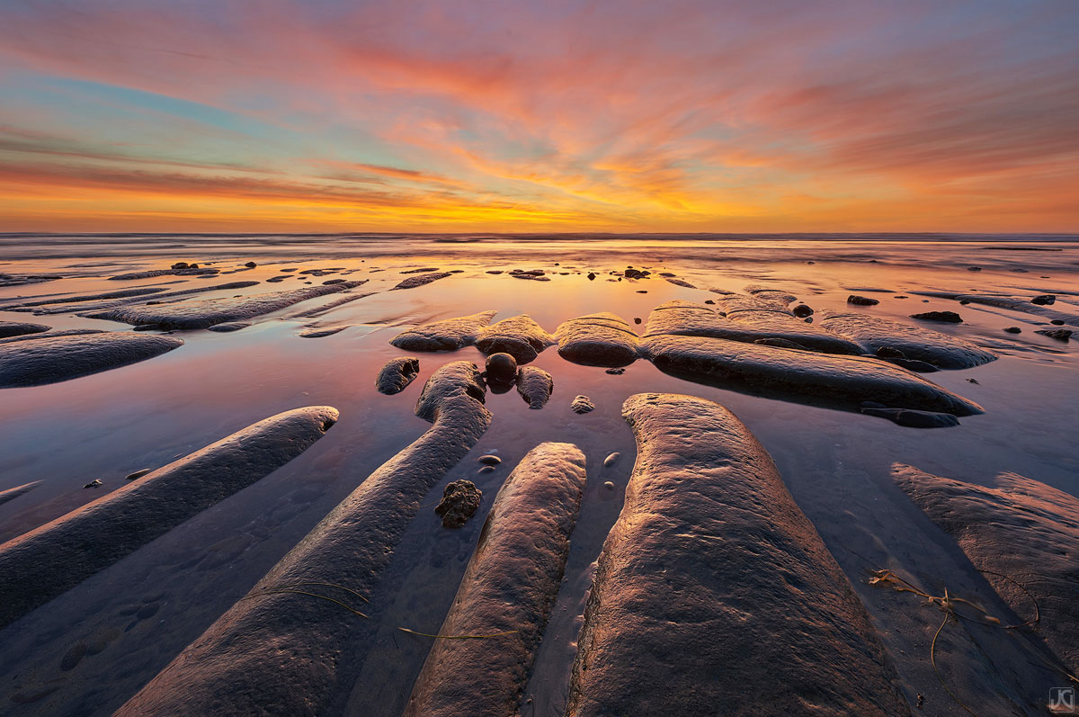 California, Encinitas, beach, sunset, tide, reflections, sand, photo