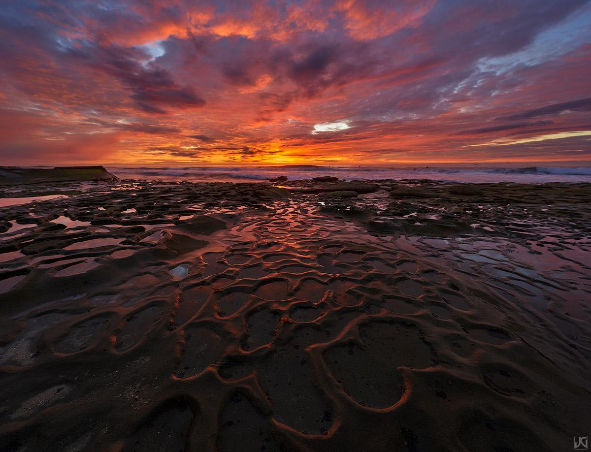California, La Jolla, sunset, clouds, reflection, coast, potholes, photo