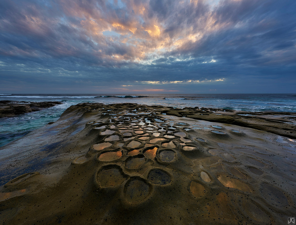 California, La Jolla, storm, sunset, clouds, reflections, potholes, coast, photo