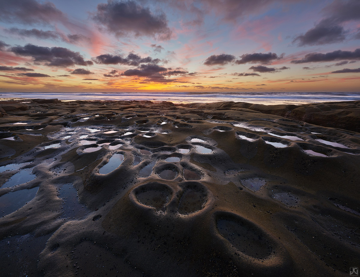 California, clouds, coast, La Jolla, sunset, San Diego, potholes, photo